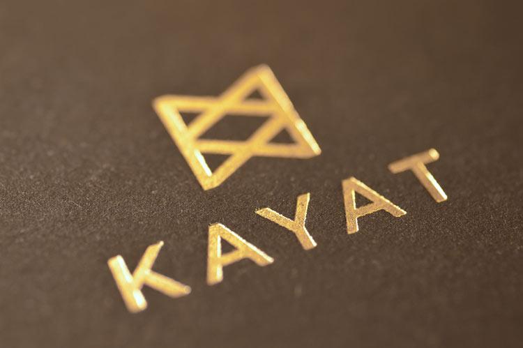 Prägedruck Visitenkarte von Kayat