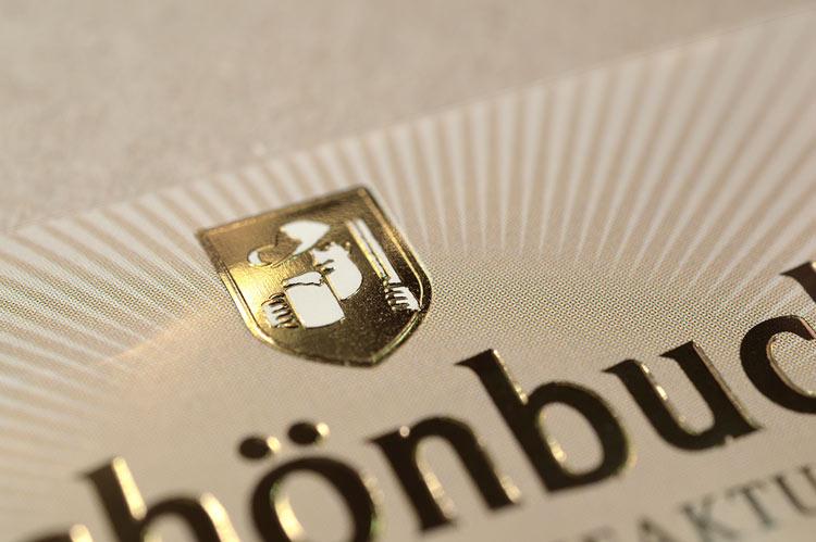 Beispiel Visitenkarten Logo mit Prägedruck
