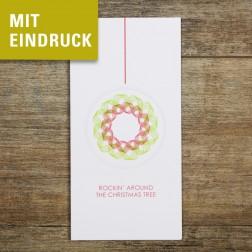 """Weihnachtskarte """"Rockin' around the christmas tree"""" mit Eindruck"""